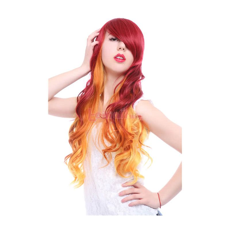 70cm Long Wave Red Fade Golden Fashion Hair Wig