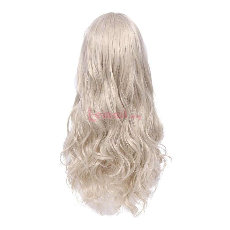 Synthetic Fashion Hair Wigs Beige Long Curly Wigs for Women with Air Bangs