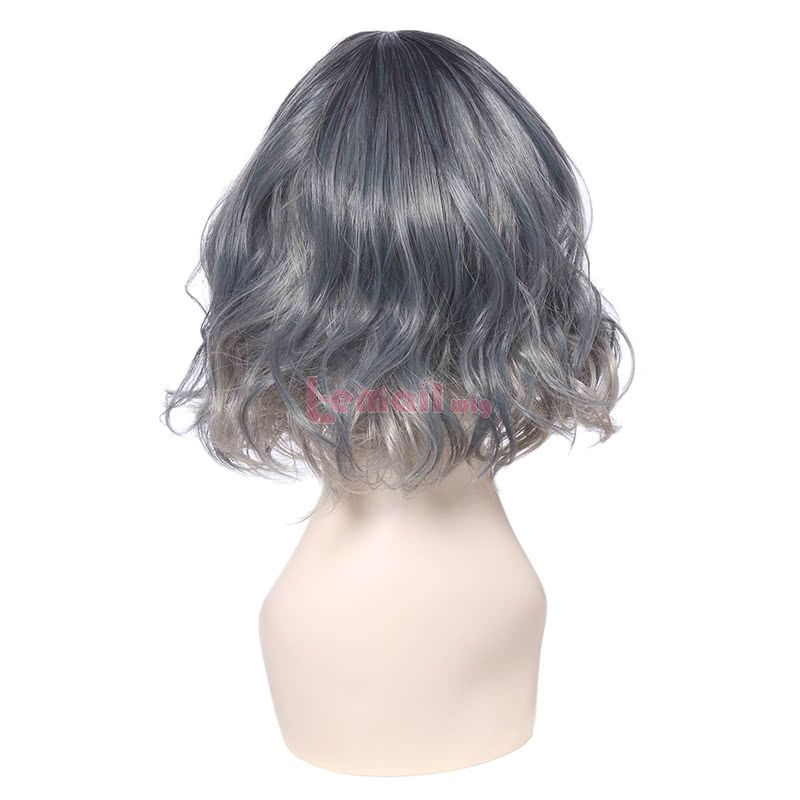 Short Synthetic Blue Gray Curly Wigs for Women with Thin Air Fringe bang
