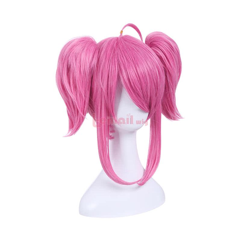 Game League of Legends Champion Lux Pink Ponytail Wigs Medium Long Straight Cosplay Party Wigs