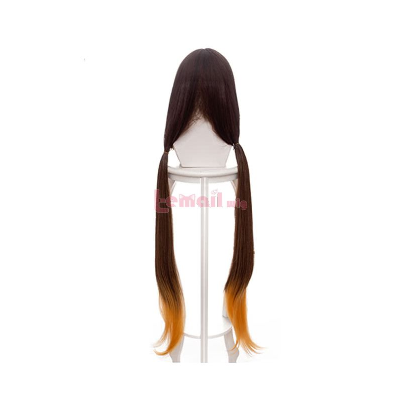Game FateGrandOrder Osakabehime Cosplay Wigs Brown Mixed Yellow Long Bunches