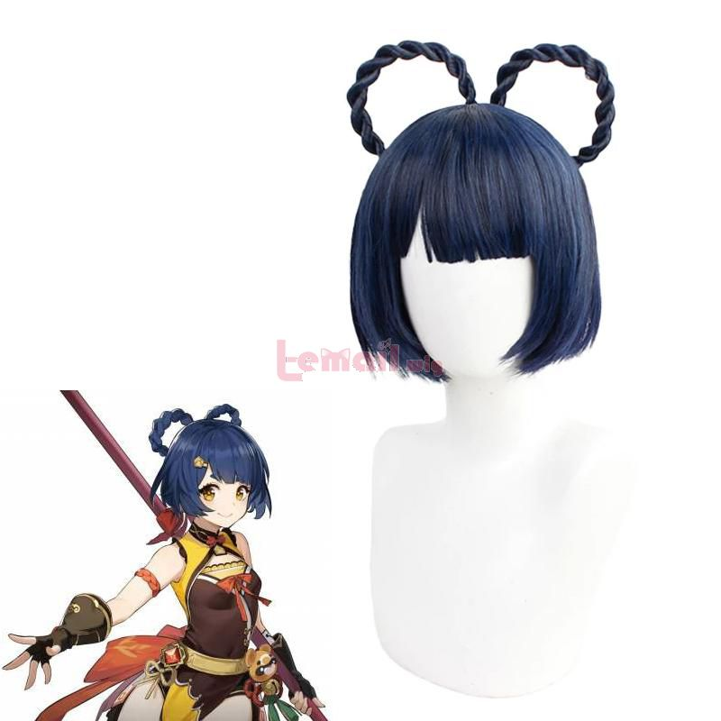 Game Genshin Impact Xiangling Short Braided Cosplay Wigs