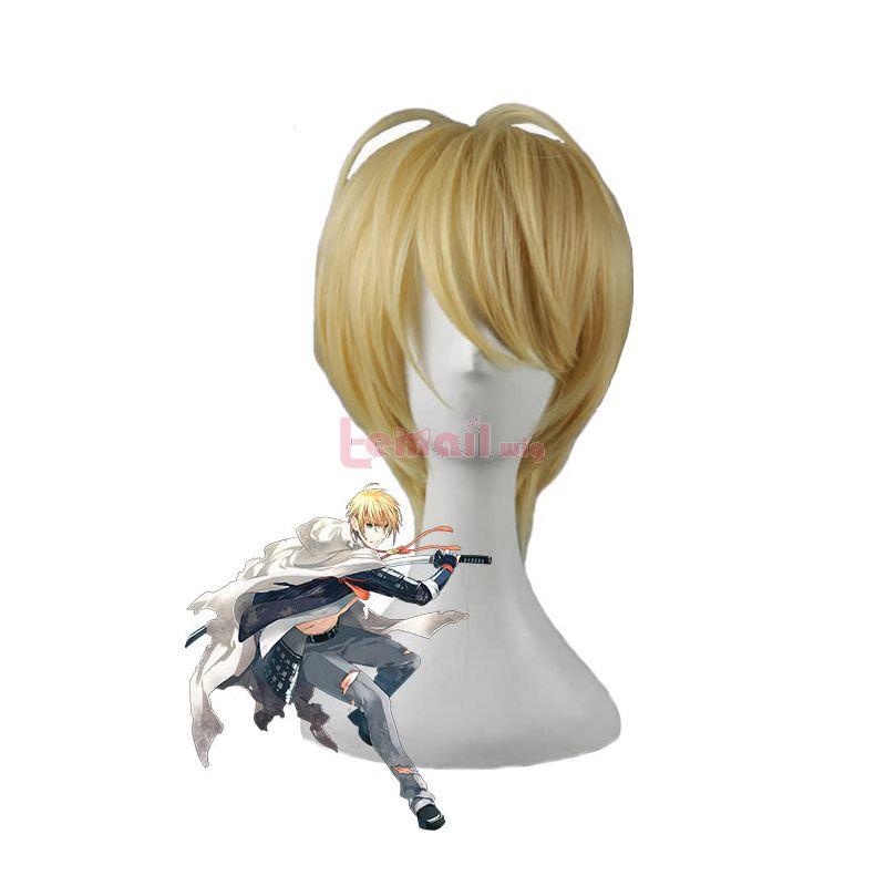 Game Touken Ranbu Online Yamanbagirikunihiro Cosplay Wigs Yellow Short