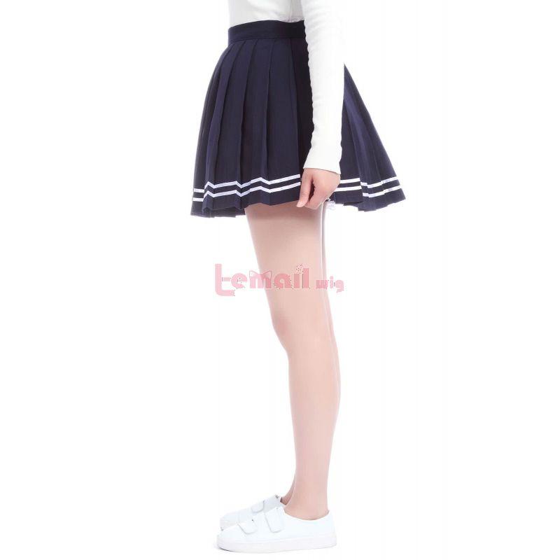 Japan High School Girls Uniforms Blue Solid Pleated Mini Skirts Dress