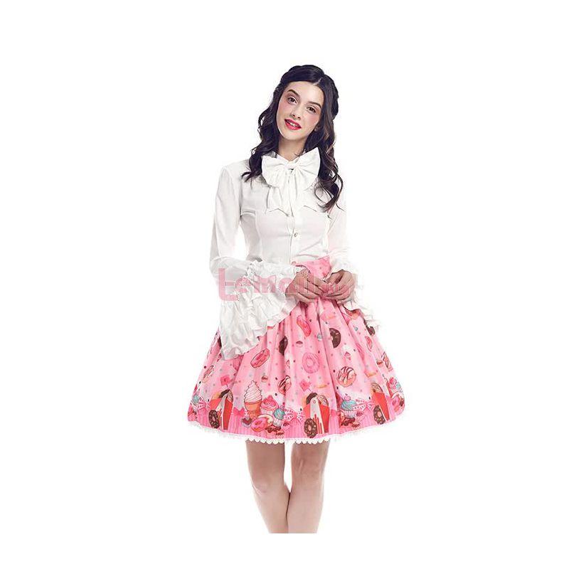 Women Girls Short Lolita Skirt Sweet Doughnut Chiffon Costume