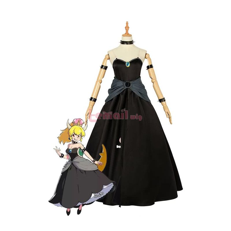 Game Super Mario Bowsette Black Dress Cosplay Costume