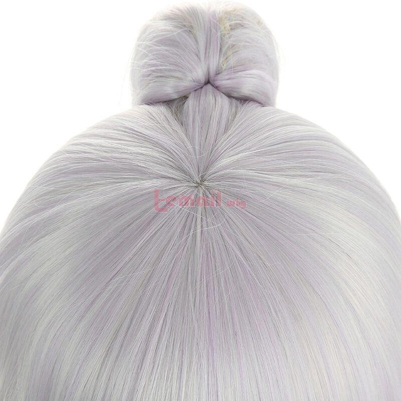 Genshin Impact Ayaka Long Gray Mixed Blue Ponytail Cosplay Wigs