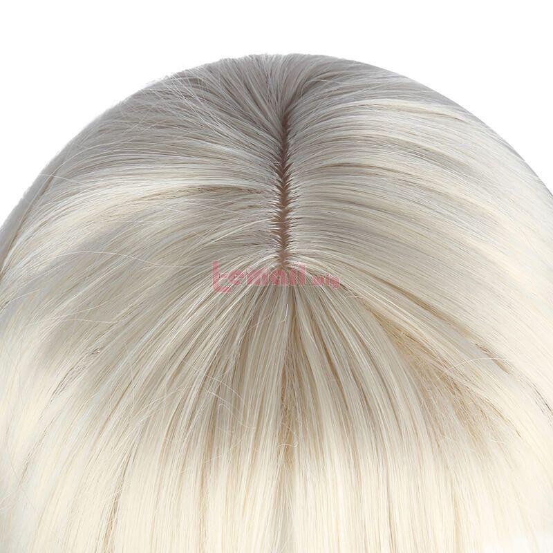 Genshin Impact Ningguang Long Straight Blonde Cosplay Wigs With Bow