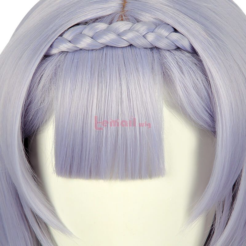 Game Genshin Impact Noelle Short Light Purple Braided Cosplay Wigs with Bangs