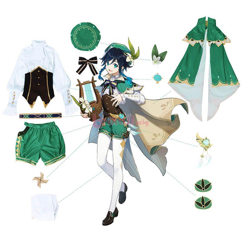 Game Genshin Impact Venti Fullset Cosplay Costume