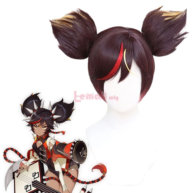 Genshin Impact Xinyan Mixed Brown Cosplay Wigs with Ponytails