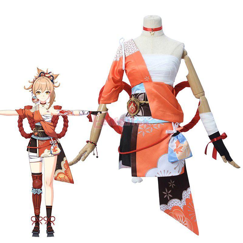 Genshin Impact Yoimiya Skin Fullset Cosplay Costume