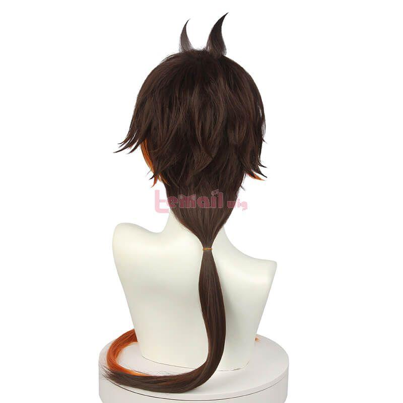 Genshin Impact ZhongLi Long Gradient Brown Ponytail Cosplay Wigs