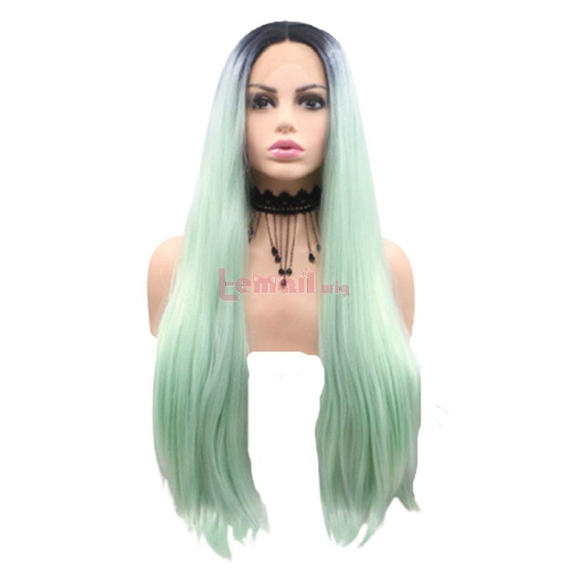Fashion Long Straight Hair Black Gradient Blue Lace Front Wigs