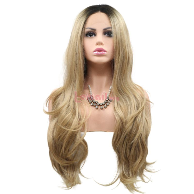 Fashion Long Curly Hair Gradient Brown Lace Front Wigs Cosplay Wigs