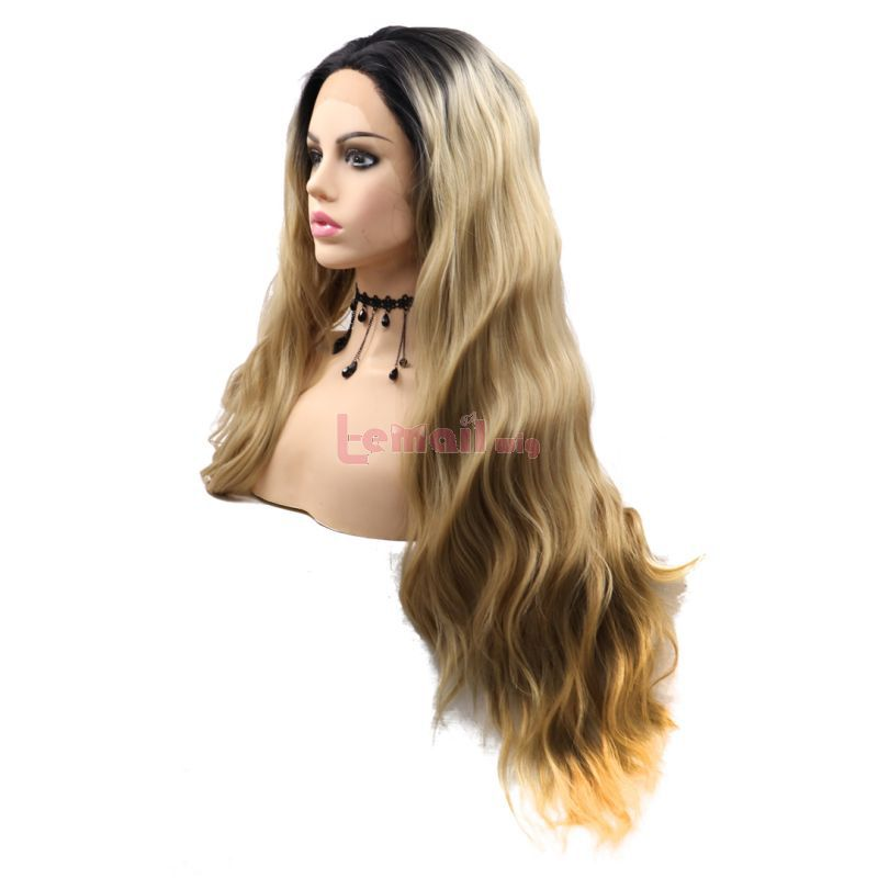 Fashion Long Curly Hair Gradient Golden Blonde Lace Front Wigs Cosplay Wigs