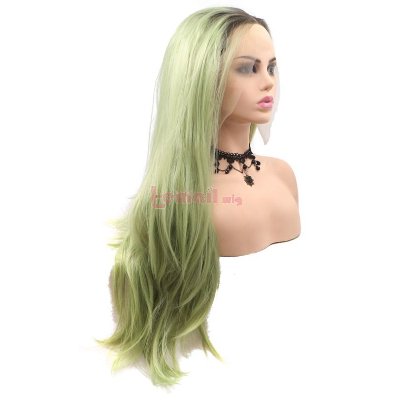 Fashion Long Curly Hair Gradient Light Green Lace Front Wigs Cosplay Wigs