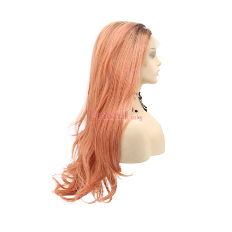 Fashion Long Curly Hair Gradient Orange Lace Front Wigs Cosplay Wigs