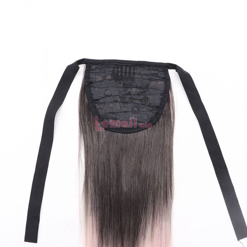 Fashion Long Straight Hair Gradient Pink Ponytail Lace Front Wigs Cosplay Wigs
