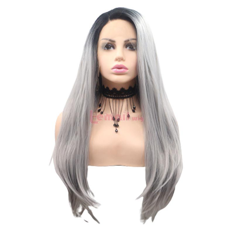 Fashion Long Straight Hair Gradient Gray Lace Front Cosplay Wigs