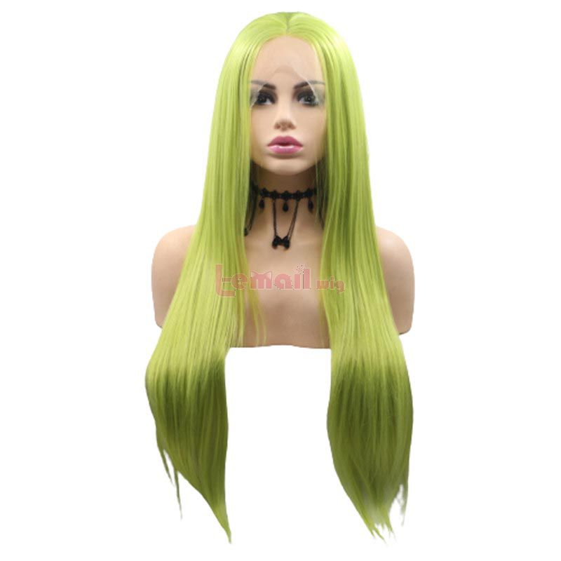 Fashion Long Straight Hair Green Lace Front Wigs