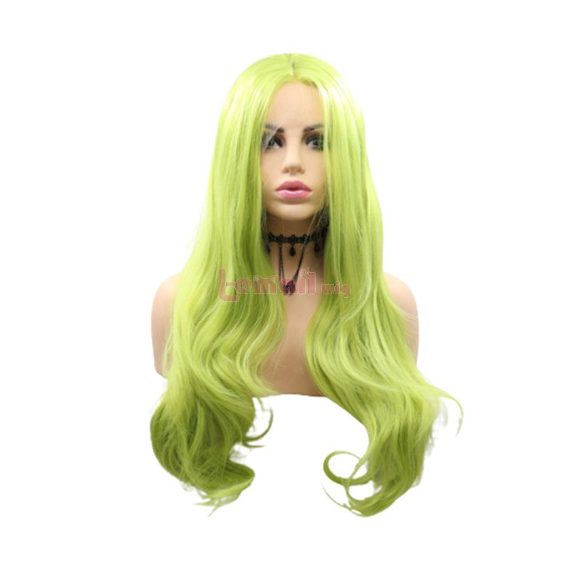 Fashion Long Curly Hair Green Lace Front Wigs Cosplay Wigs