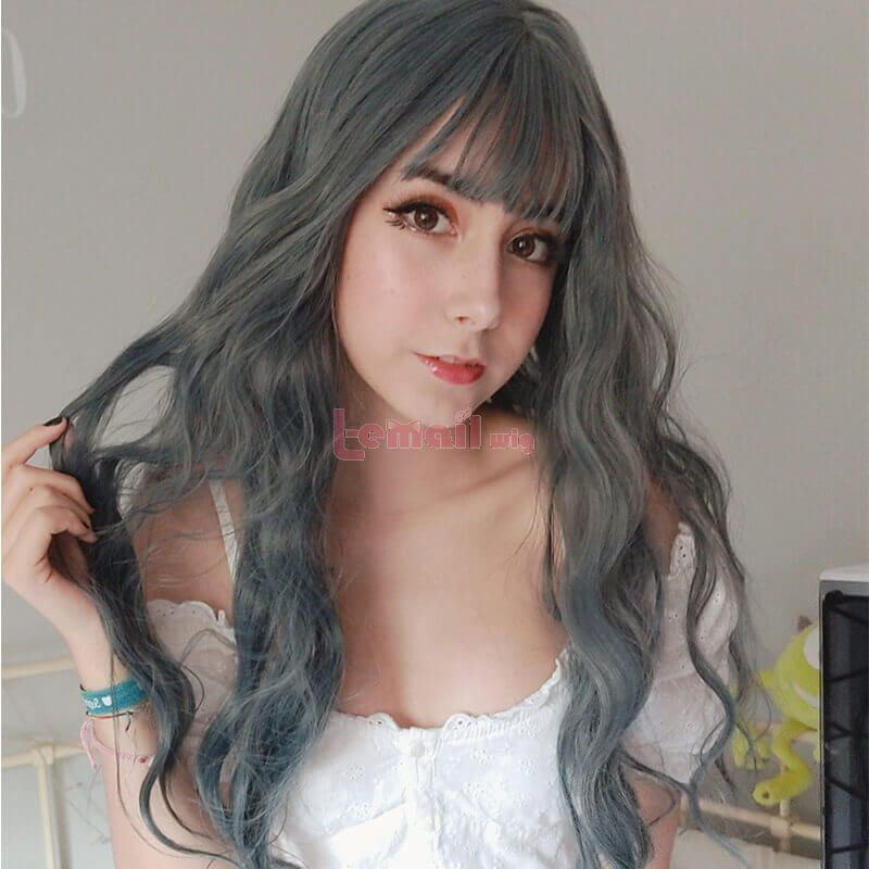 long grey blue sweet lolita wigs