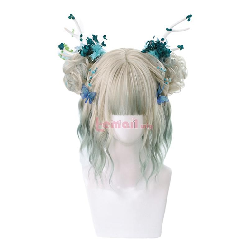 Grey Mixed Green Lolita Wigs with Buns Short Wave Cosplay Party Wigs