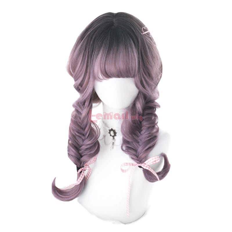 Halloween 50cm Long Curly Lolita Wigs Purple Mixed Black Cosplay Wigs