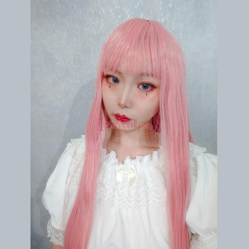 Halloween Long Pink Lolita Wigs 73cm Straight Woman Hair Cute Cosplay Wigs