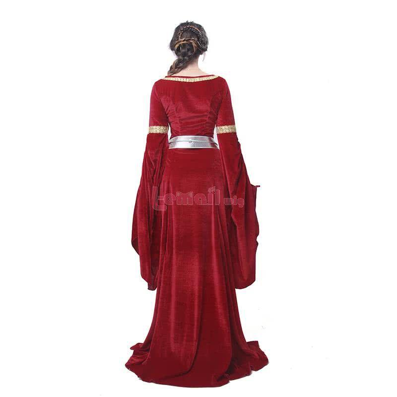 Halloween Women Wine Red Maxi Long Dress Long Wide Sleeve Elegant Retro Evening Dresses