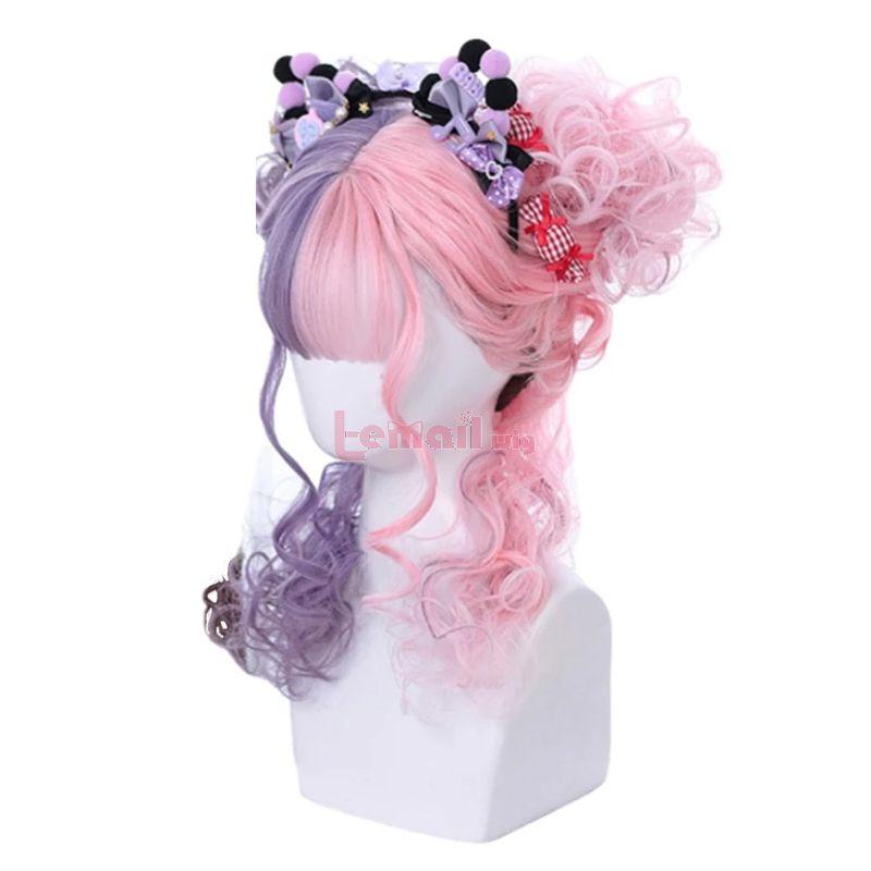 Harajuku Japanese Pink Curly Lolita Wigs Brown Cosplay Wigs With Flat Bangs