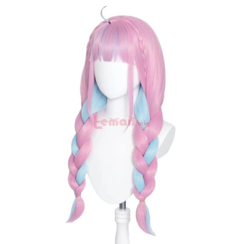 Hololive VTuber Minato Aqua Blue Pink Braided Cosplay Wigs