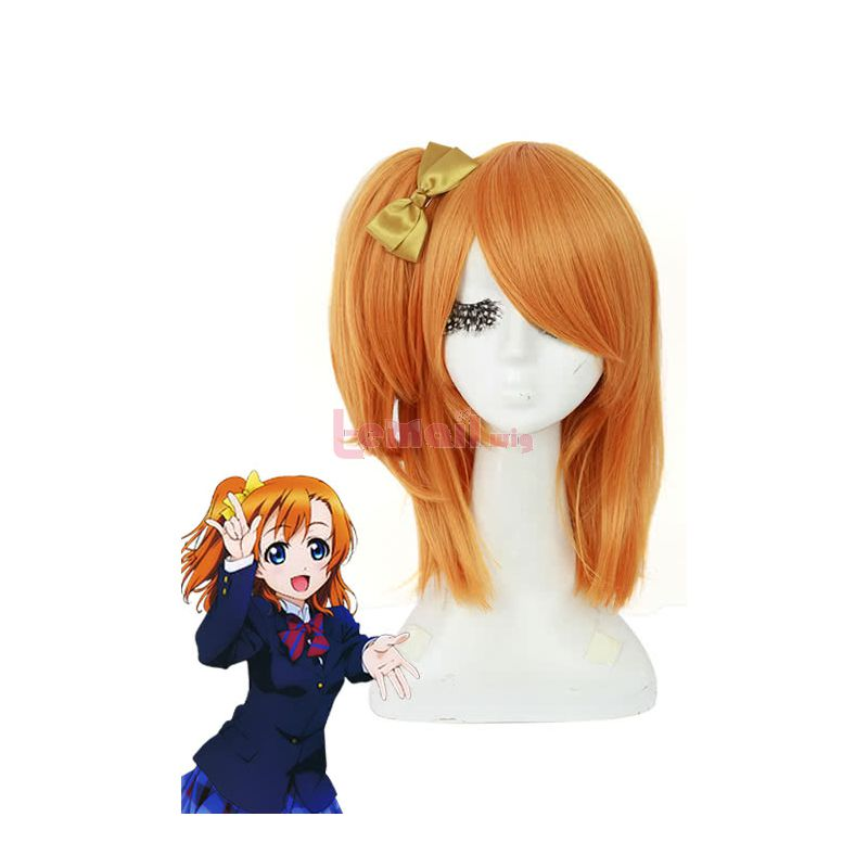 50cm Love Live! Orange Kousaka Honoka Cosplay Wig +bowknot