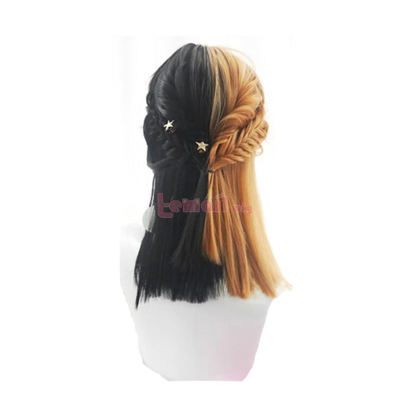 Japanese Sweet Girl Black Mixed Yellow Lolita Wigs Gothic Cosplay Wig with Bangs