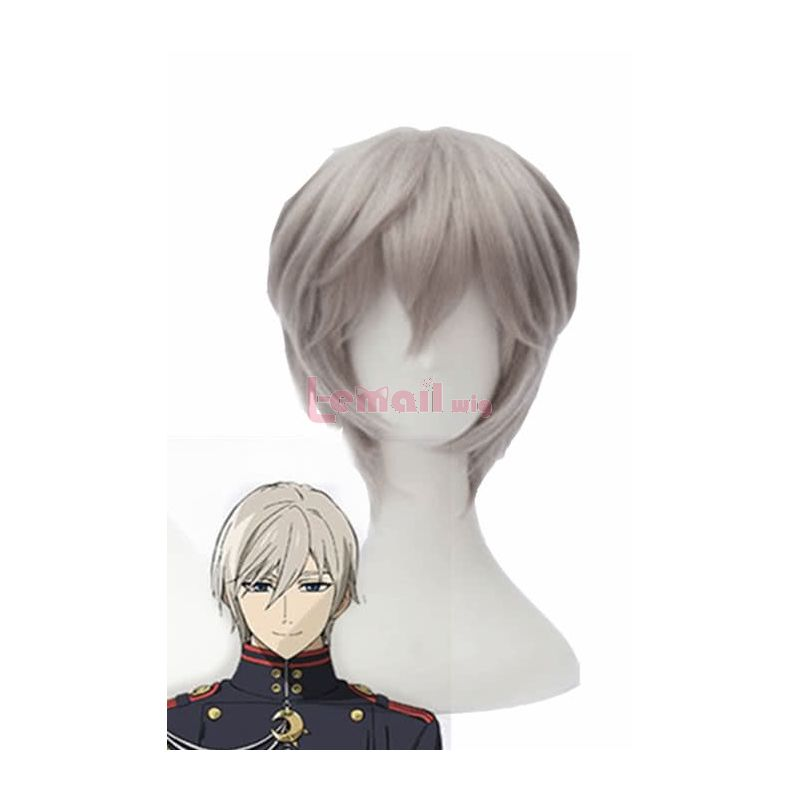 Seraph Of The End Sinya Hiirag Short Grey Synthetic cosplay wig