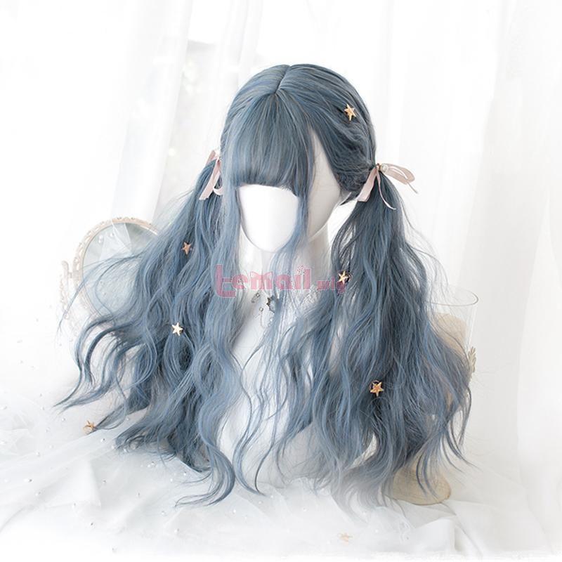70cm Grey Mixed Blue Fashion Women Long Curly Wigs