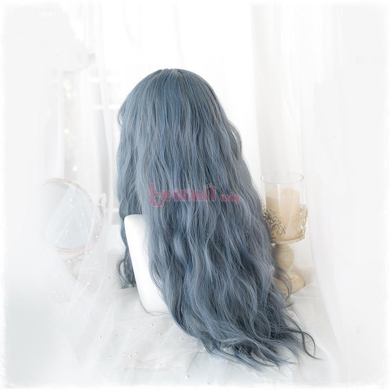 grey blue wigs lolita for girls