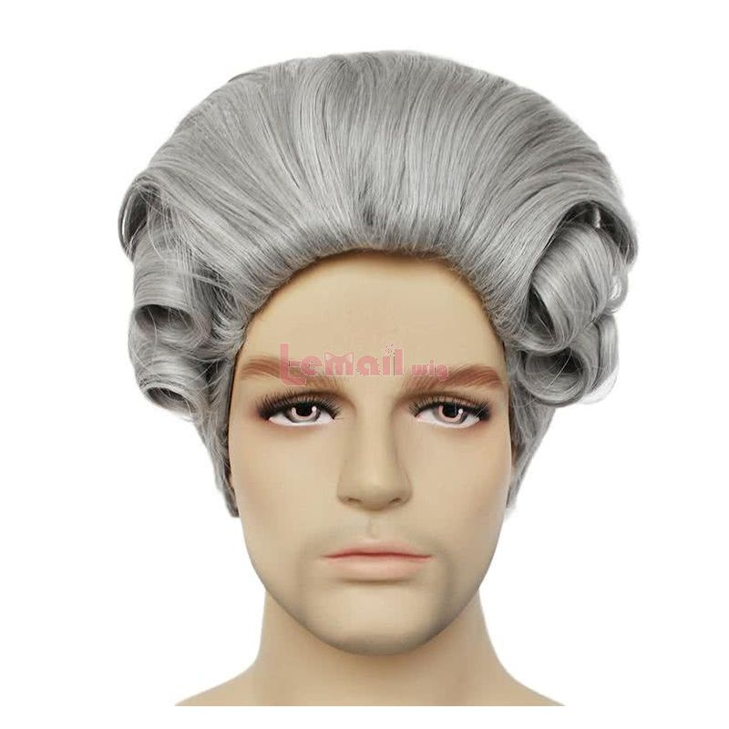 Halloween Men Long Curly Judge Wig Evening Party Cosplay Wigs