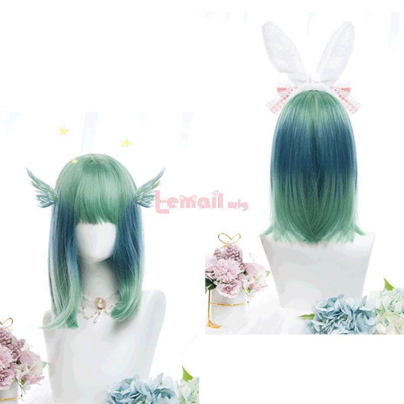 Harajuku Blue Lolita Wigs Gradient Color Straight Cos Wig
