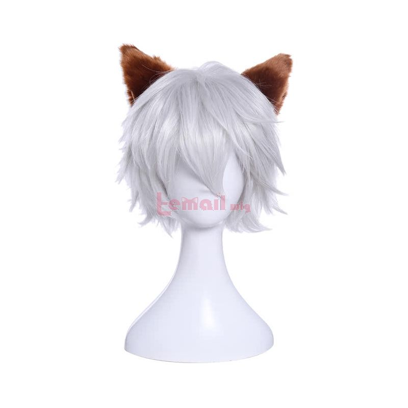 White Silver Cosplay Wig With Furry Ear