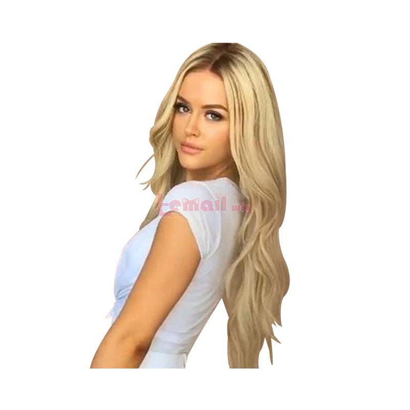 Fashion European Black Gradient Blond Long Curly Women Wigs