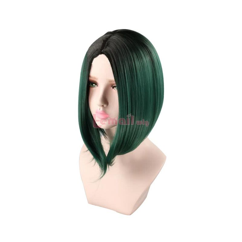 Synthetic Fashion Hair Wigs Black Gradient Green Short Straight Wigs for Women