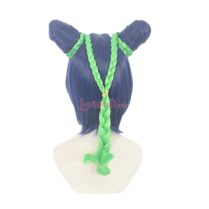 JoJo's Bizarre Adventure Jolyne Cujoh Blue Mixed Green Cosplay Wigs