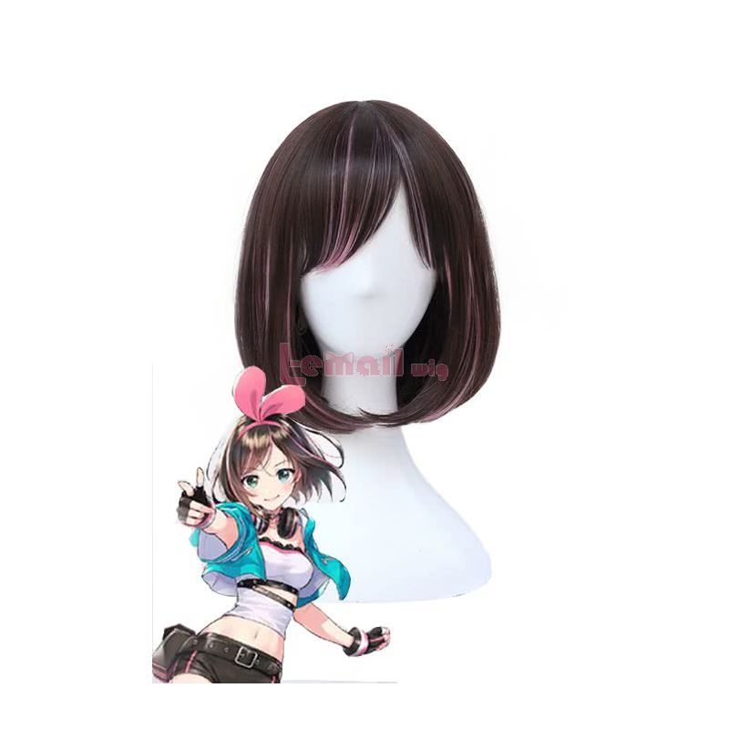 Kizuna AI AI Channel Youtuber Short Straight Brown Mixed Pink Cosplay Wigs