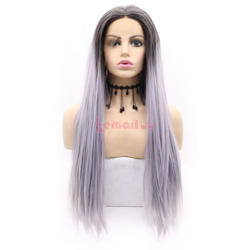 Fashion Long Straight Hair Purple Grey Lace Front Wigs