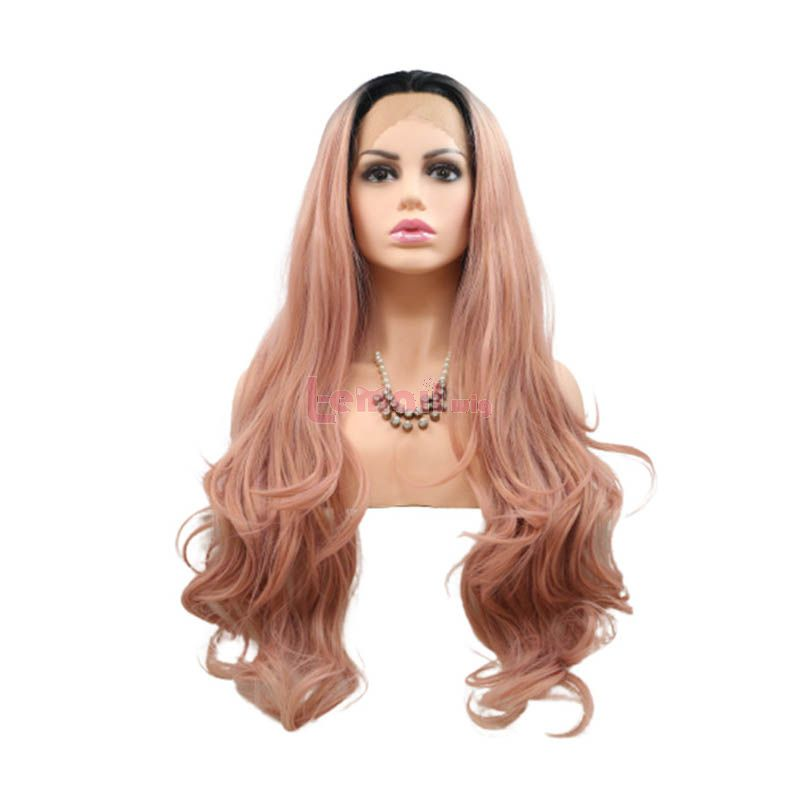 Fashion Long Curly Hair Gradient Pink Lace Front Wigs Cosplay Wigs