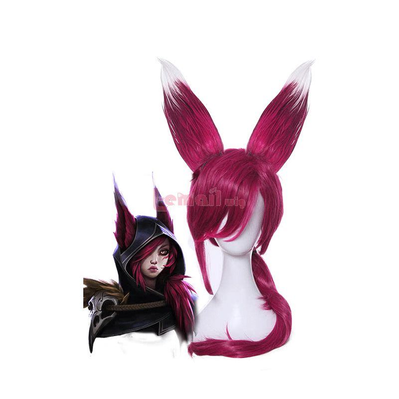 Game League of Legends New Champion Xayah The Rebel Long Red Synthetic Women Cosplay Wigs