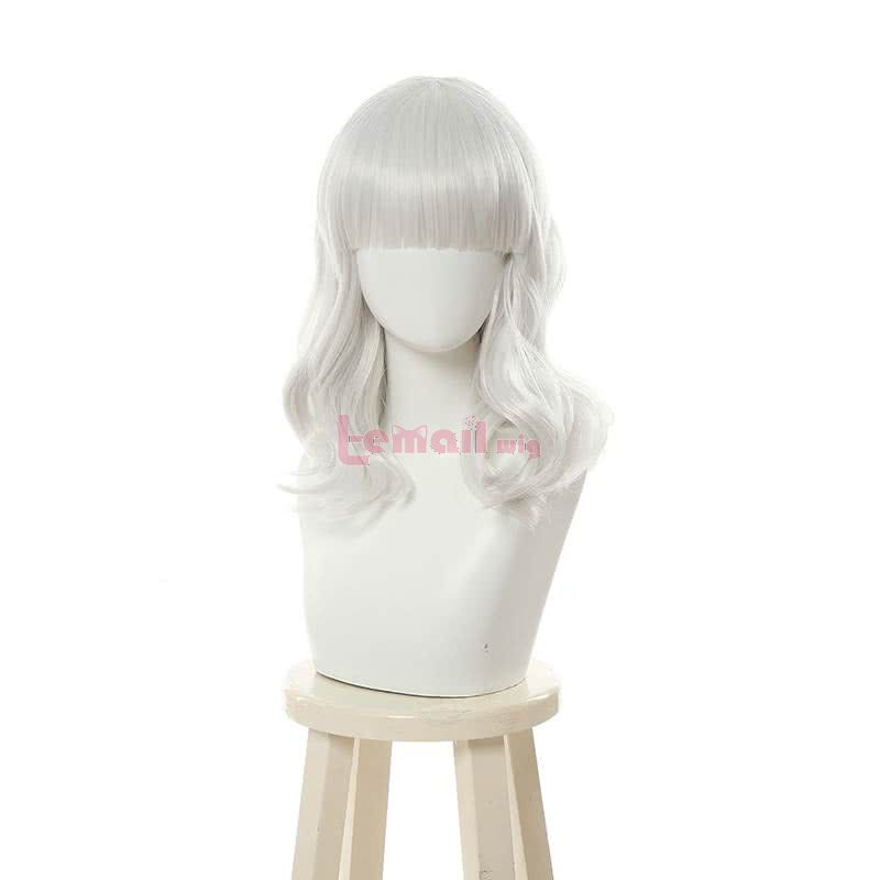 LOL Empress of the Elements Qiyana Curly Silver Cosplay Wigs