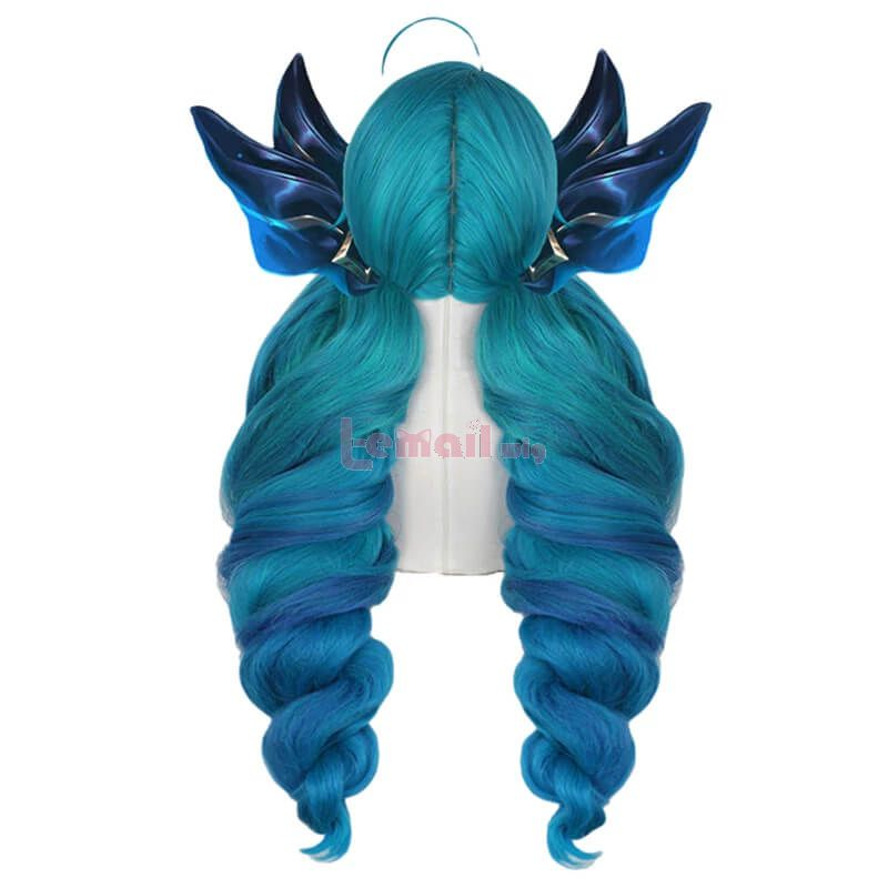 LOL Gwen Long Gradient Blue Ponytail Cosplay Wigs